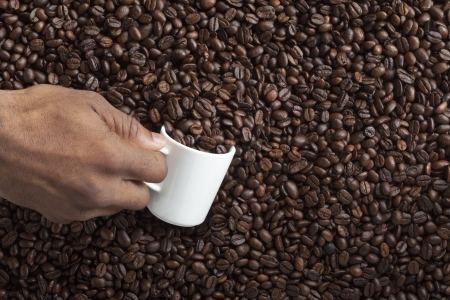 Close-up shot of a person filling coffee bean in cup of coffee. photo