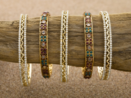 Close up image of collection of golden bracelets Stock Photo - 17208697