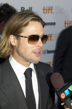 brad pitt: Brad Pitt Hits the red carpet at the 2011 International Film Festival for the screening of his latest movie Moneyball Editorial