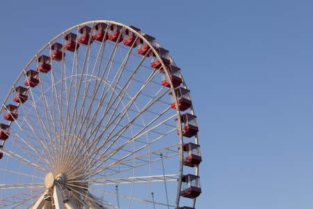 Cropped low angle shot of ferris wheel against clear sky. photo