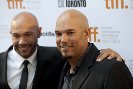 brad pitt: Actor Stephen Bishop and former MLB player David Justice arrive at the 2011 Toronto International Film Festival for the screening of Moneyball starring Brad Pitt Editorial