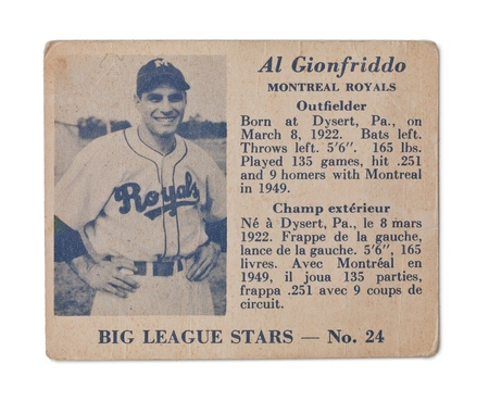 Image of Al Gionfriddo vintage baseball card Stock Photo - 17202144