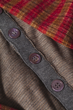 checkered scarf: Checkered scarf and brown clothes isolated on