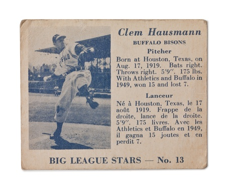 Clem Hausman profile on an old baseball card