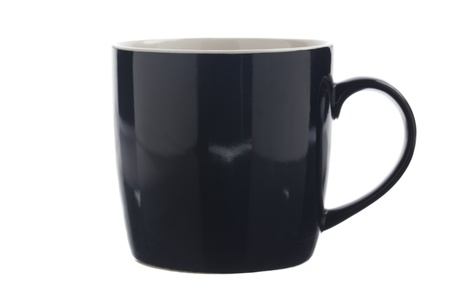 Close-up of a black coffee mug displayed over white. Stock Photo - 17185677