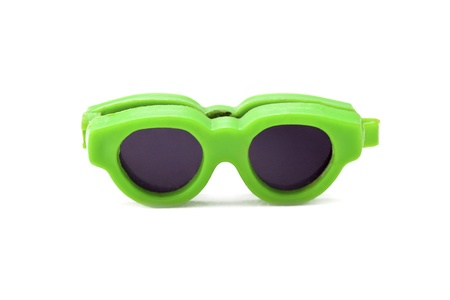 Close-up of a green retro sunglasses isolated on white background. Stock Photo - 17185493