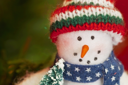 Snowman toy in a macro shot. photo