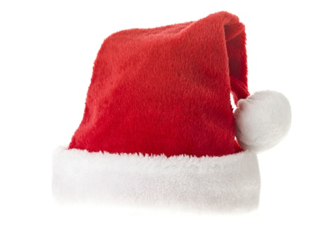 Close-up shot of Santa hat isolated on white background Stock Photo - 17186966