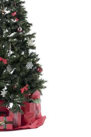 Cropped image of a Christmas tree over the white background Stock Photo - 17189702