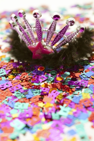 jeweled: Close-up image of beautiful crown on birthday decoration.