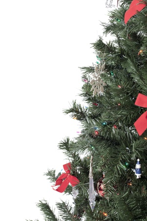 Cropped image of a decorated fir tree over a white background Imagens