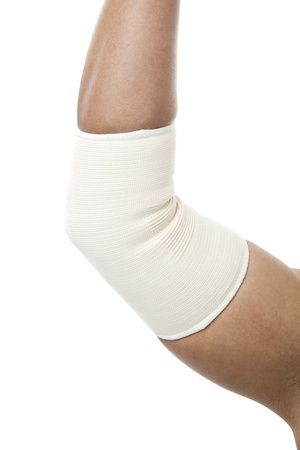 Elbow Bandage Support in a fracture arm Stock Photo - 17186143