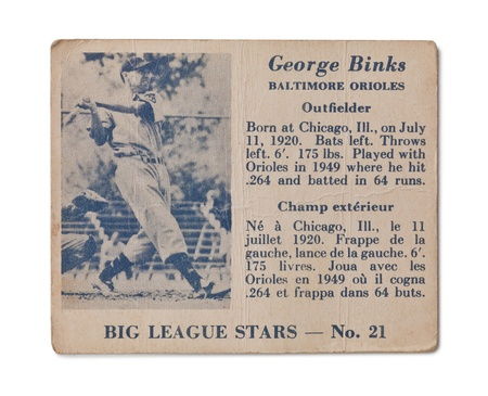 orioles: Old baseball card with George Binks profile Editorial
