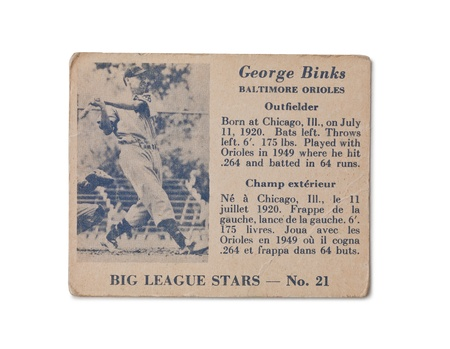 Old baseball card of the Big league stars George Binks Baltimore Orioles Outfielder Stock Photo - 17176199