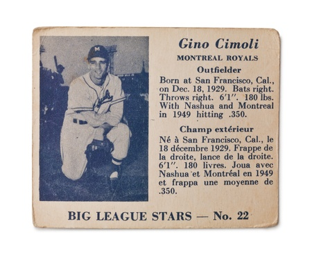 Old baseball card with Gino Cimoli profile Stock Photo - 17202120