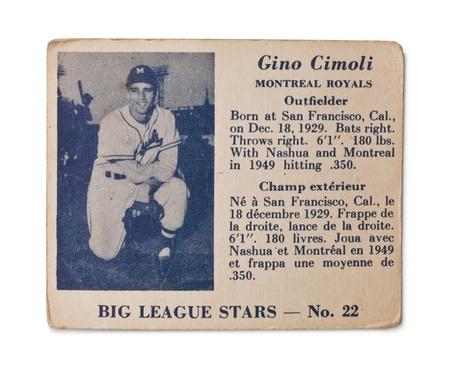 Old baseball card with Gino Cimoli profile Stock Photo - 17202120