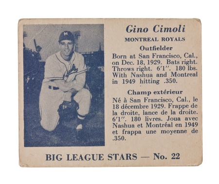 Old baseball card of the big league stars Gino Cimoli Montreal Royals Outfielder Stock Photo - 17202146