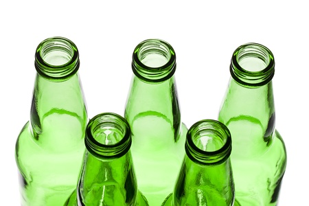 Close-up shot of green beer bottles for recycling