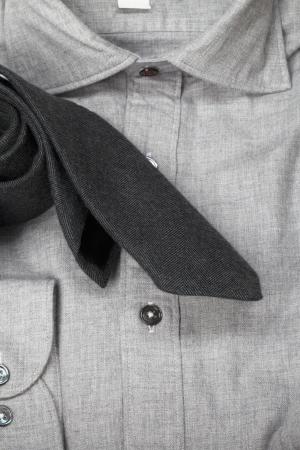 dry cleaned: A close-up ritratto di un grigio polo con una cravatta nera