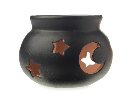 pot holder: Image of halloween pot candle holder against white background