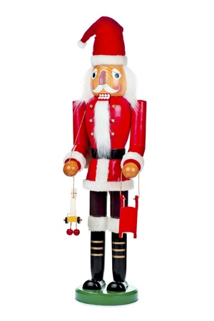 Image of a wooden Santa Claus statue displayed over white background. Stock Photo - 17185611