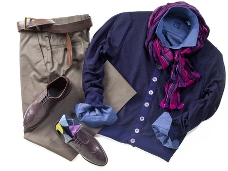 Close-up image of shirt with scarf, shoes and pants. Imagens