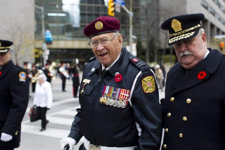 military uniform: View of senior war veterans in military uniform.