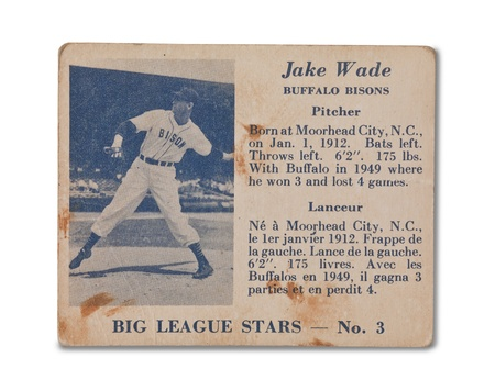 Old baseball card with Jake Wade profile