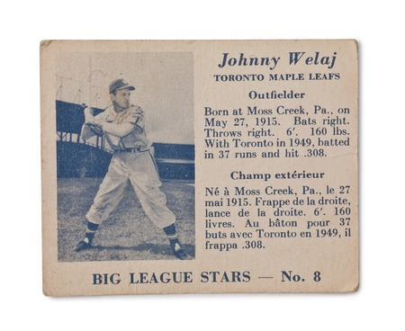 Old Baseball card with Johnny Welaj profile