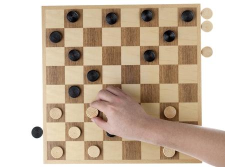 checker board: La mano del hombre la celebraci�n de pieza corrector blanco, mientras que el inspector bordo