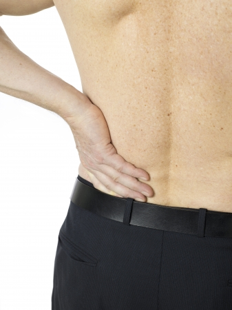 old man on a physical pressure: Macro shot of senior man with back pain Stock Photo