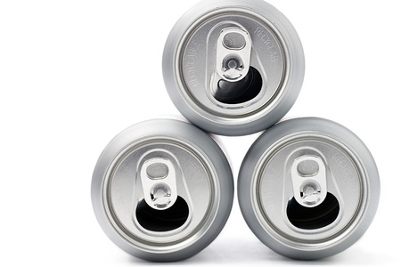 Top view of silver tin cans isolated over white background Stock Photo - 17187202