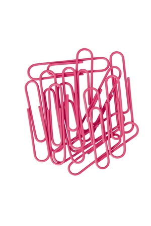 Image of pink paper clips isolated on white background