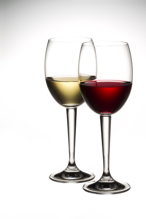 Image of red and white wine in wineglass. Stock Photo - 17185589