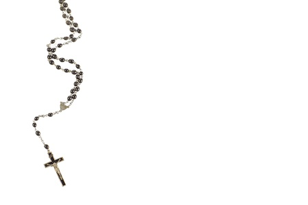 Close-up image of rosary beads displayed on white background.