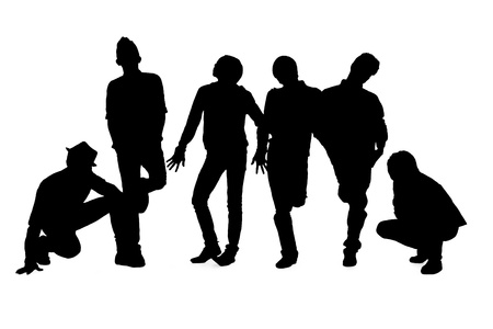 Silhouette male fashion models on white photo