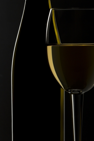 bar ware: A close-up portrait of a silhouette wine on white  Stock Photo