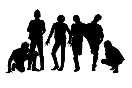 A portrait of young people posing in a silhouette image Stock Photo - 17185204