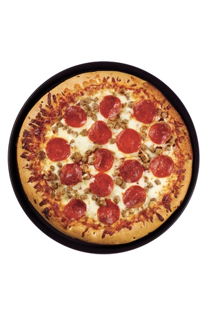 Image of top full view of pepperoni pizza isolated on white background photo