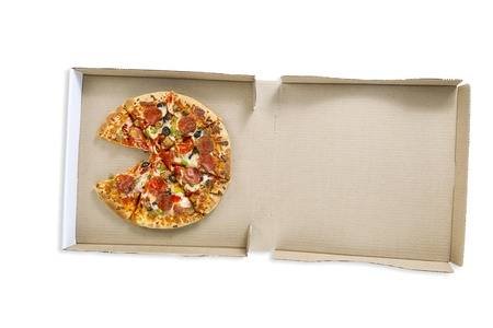 Overhead shot of a delicious pizza in pizza box over white surface. photo