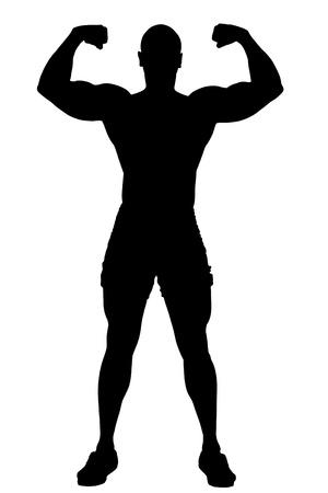 Silhouette of muscular men