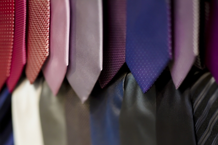 Close-up of neckties in a store.