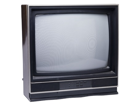 Old television isolated on a white background Banco de Imagens