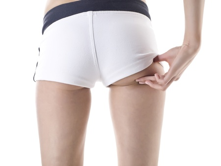 A close up image of woman bottom isolated on white
