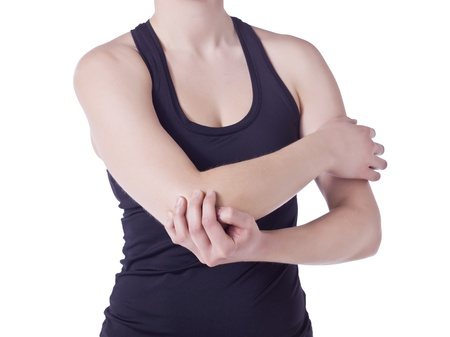 Cropped image of a woman rubbing her painful elbow