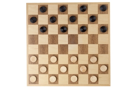 checker: Wooden checker board with checkers in a close-up image Stock Photo