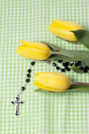 Image of a fresh yellow tulip with a rosary on a green checkered background photo