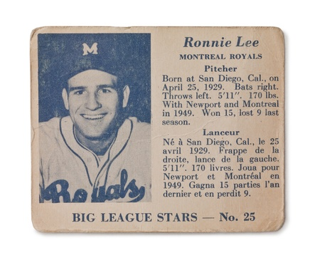 royals: Old baseball card of the Big League Stars Ronnie Lee Montreal Royals Pitcher