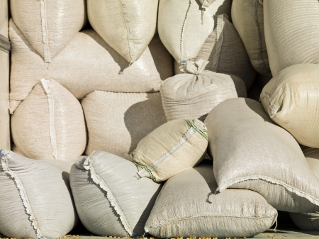 Image of sack bags filled with grains.