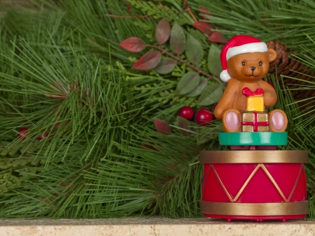 Close-up shot of teddy bear statue with gifts. Stock Photo - 17206493